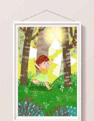 黄色可爱女孩放暑假郊外快乐玩耍插画