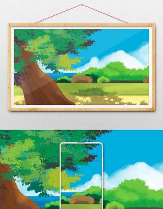 唯美清新绿色系海边的大树手绘插画背景