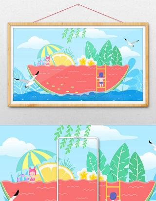 文艺清新创意卡通学生西瓜游泳暑期生活插画