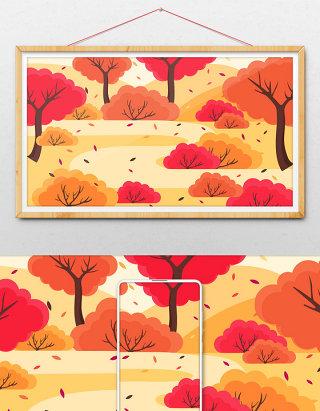 唯美的秋天树林小道背景
