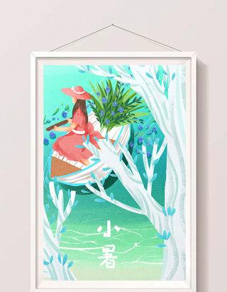 唯美清新女性夏天湖面划船插画