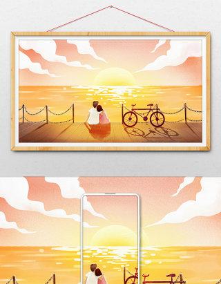海岸情侣相拥看落日插画