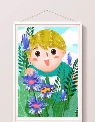 清新可爱男孩暑假探索大自然插画