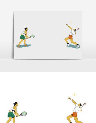 卡通漫画男女网球对决插画元素
