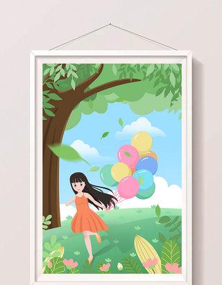 简约清新少女小女孩暑假户外气球玩耍插画