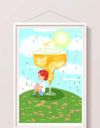清新卡通夏天儿童与冷饮料插画