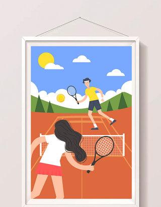 卡通清新暑期生活打网球户外运动情侣插画