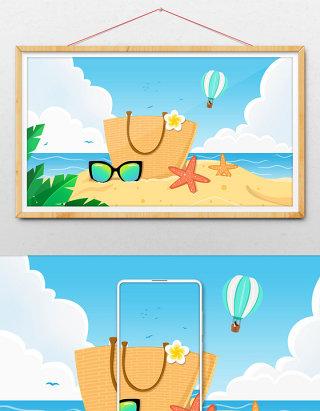 唯美清新夏日海边休闲度假生活品插画