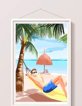 清新水彩手绘风格沙滩度假插画