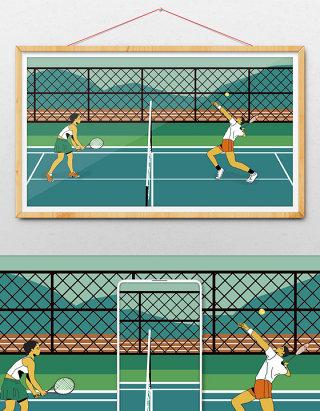 新式风格绿色美式健康运动网球暑假锻炼健身
