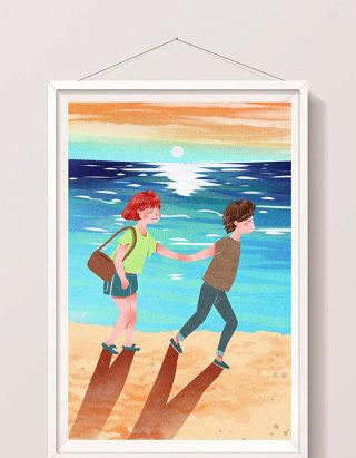 清新可爱情人节情侣海边牵手跑步插画