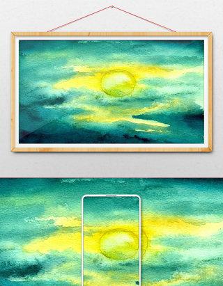蓝色夏日日出清新水彩手绘背景素材风景