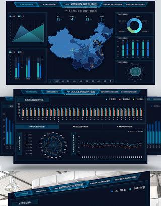 原创科技数据可视化大屏界面设计psd源文件
