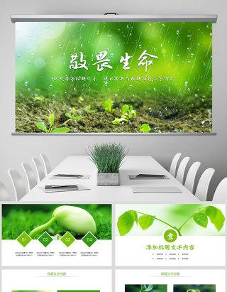 原创唯美绿色植物发芽植物生长敬畏生命PPT模板-版权可商用