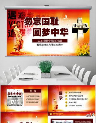 原创南京大屠杀死难者国家公祭日动态PPT模板-版权可商用