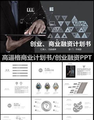 黑色高逼格商业策划创业计划书PPT