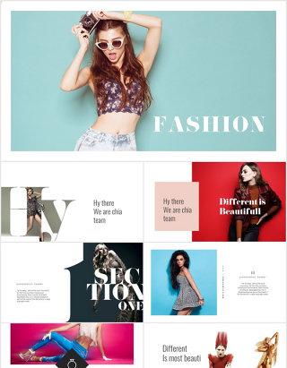 时尚风格奢侈时装潮流品牌宣传ppt模板