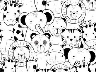 可爱的细线动物卡通涂鸦无缝模式