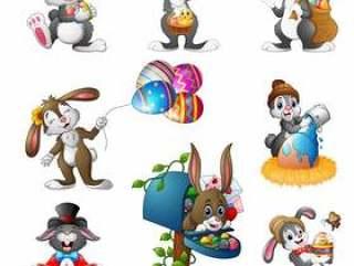 套的传染媒介例证复活节兔子动画片
