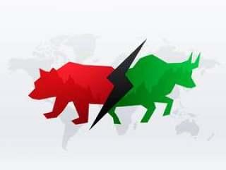 股市与牛的概念设计和熊为赢利和lo