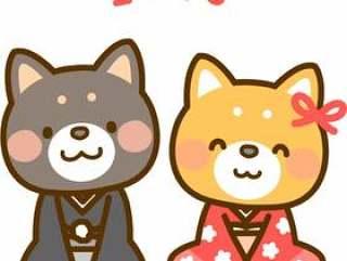 穿着和服的芝犬夫妇