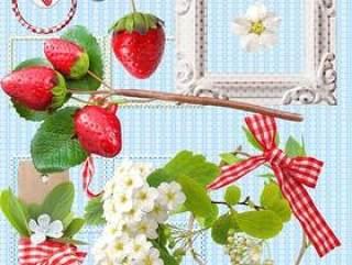 清新草莓和相框psd分层