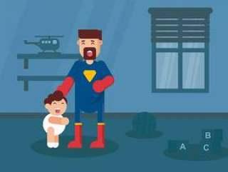 超级英雄爸爸矢量