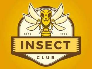 与现代徽章模板传染媒介例证的平的昆虫蜂吉祥人商标