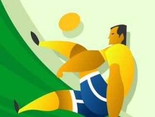 在行动的巴西足球字符