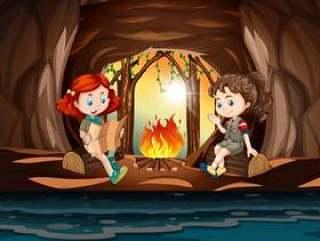 女孩在山洞里露营