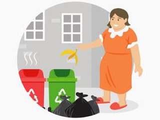 扔废纸篓例证的妇女投掷的垃圾