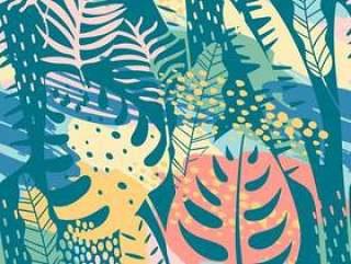 无缝的异国情调模式与热带植物和艺术背景。