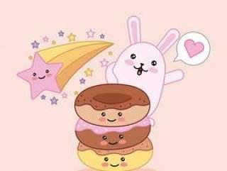 卡哇伊甜猫和甜甜圈明星快乐卡通
