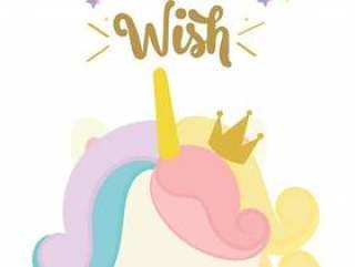 生日快乐卡与可爱的独角兽