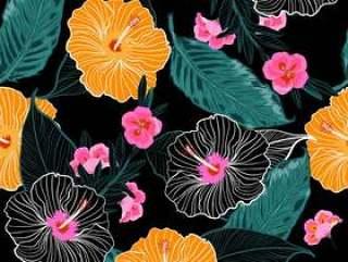 与热带花卉的无缝矢量