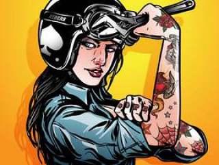 女骑自行车的人摩托车卡通
