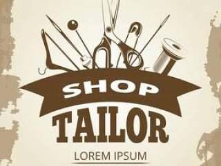 老式的裁缝店标签设计