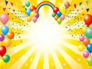彩虹气球气球五彩纸屑雪上雪花背景材料壁纸