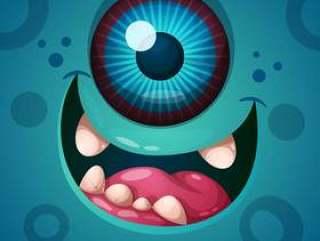 可爱,有趣,疯狂的怪物角色。万圣节插图