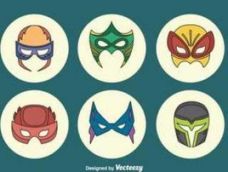 伟大的超级英雄面具集合矢量