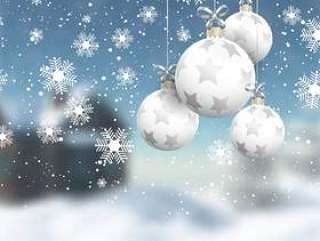 散焦的冬季景观上的圣诞小玩意