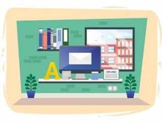 矢量设计师房间插图