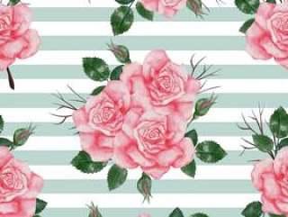 与玫瑰粉红色水彩的无缝模式