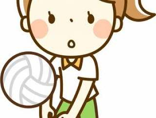 一个打排球的女孩