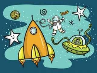 太空火箭飞船&外星人矢量