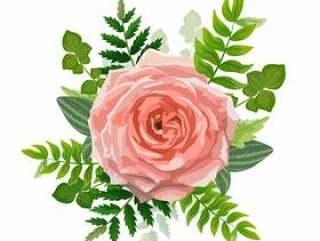 婚礼邀请卡。可爱的模板。与玫瑰色花,森林绿叶的卡片