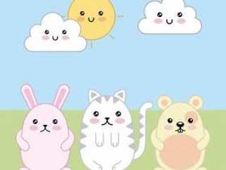 卡哇伊可爱的兔子猫和老鼠卡通
