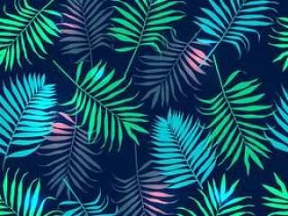 用五颜六色的棕榈叶的无缝模式