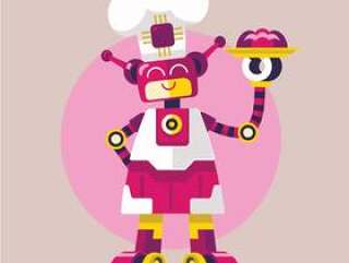 可爱女人机器人厨师