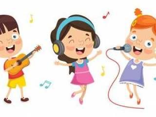 演奏音乐的孩子的传染媒介例证